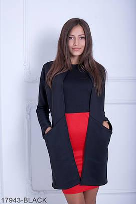 Жіночий чорний кардиган з неопрену Fancy