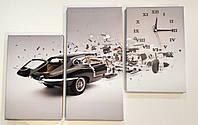 Картина с часами на холсте машина