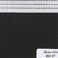 Рулонные шторы День Ночь Ткань Сафари ВН-07 Чёрный