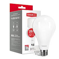 LED лампа MAXUS A80 20W E27 4100K яркий свет 220V (1-LED-5610)