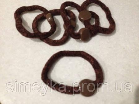 Резинка для волос велюровая коричневая (шоклад), диаметр 6 см, 1 шт.