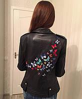 Куртка женская из натуральной кожи с вышивкой