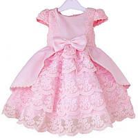 Детское Шикарное нежно - розовое  платье с кружевом для праздника в наличии