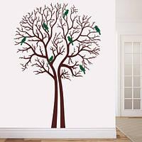 Интерьерная виниловая наклейка на обои Деревья зимой (декоративная пленка, птицы)