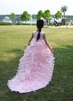 Шикарное Детское Праздничное платье розового цвета для Принцессы с Шикарным  шлейфом