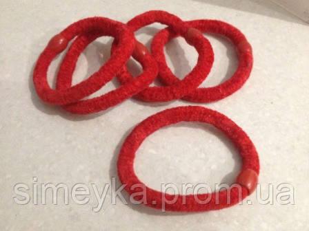 Резинка для волос велюровая красная, диаметр 6 см, 1 шт.