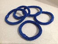 Резинка для волос велюровая синяя, диаметр 6 см, 1 шт.