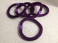 Резинка для волос велюровая фиолетовая, диаметр 6 см, 1 шт.