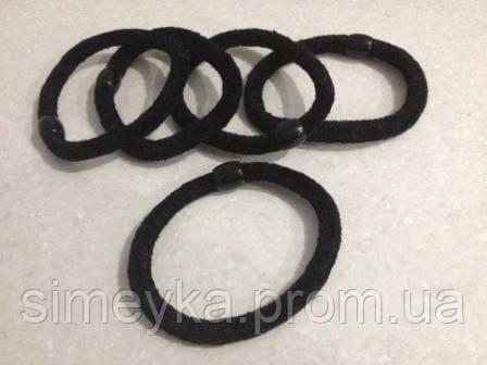 Резинка для волос велюровая чёрная, диаметр 6 см, 1 шт.