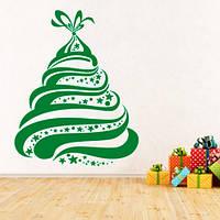 Новогодняя интерьерная наклейка на стену Елочка в подарок (виниловый стикер, декор, новый год)