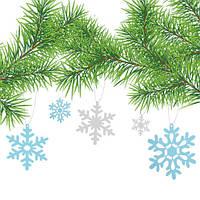 Новогодняя интерьерная наклейка Снежинки 3Д (праздничный набор, украшение из картона для декора)