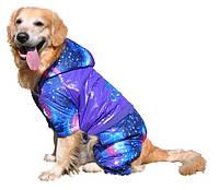 """Утепленный дождевик """"Adidog - Космос"""" для собак крупных пород. Одежда для собак."""