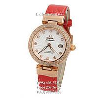 Женские наручные часы Omega De Ville Ladymatic Red/Gold/White