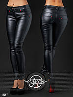 Лосины женские , ткань-стрейч кожа стёганная, цвет черный, фото реальное ,супер качество флав № 388-35