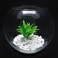 Круглый аквариум 10,3 л, ваза