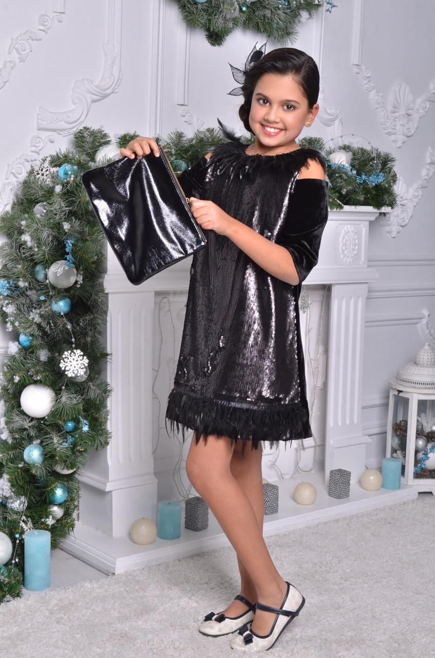 Нарядное платье для девочки с перьями