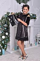 Нарядное платье для девочки с перьями, фото 1