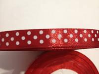 Лента атлас 0,9 см вишнёвая (тёмно-красная) в горошек, фото 1