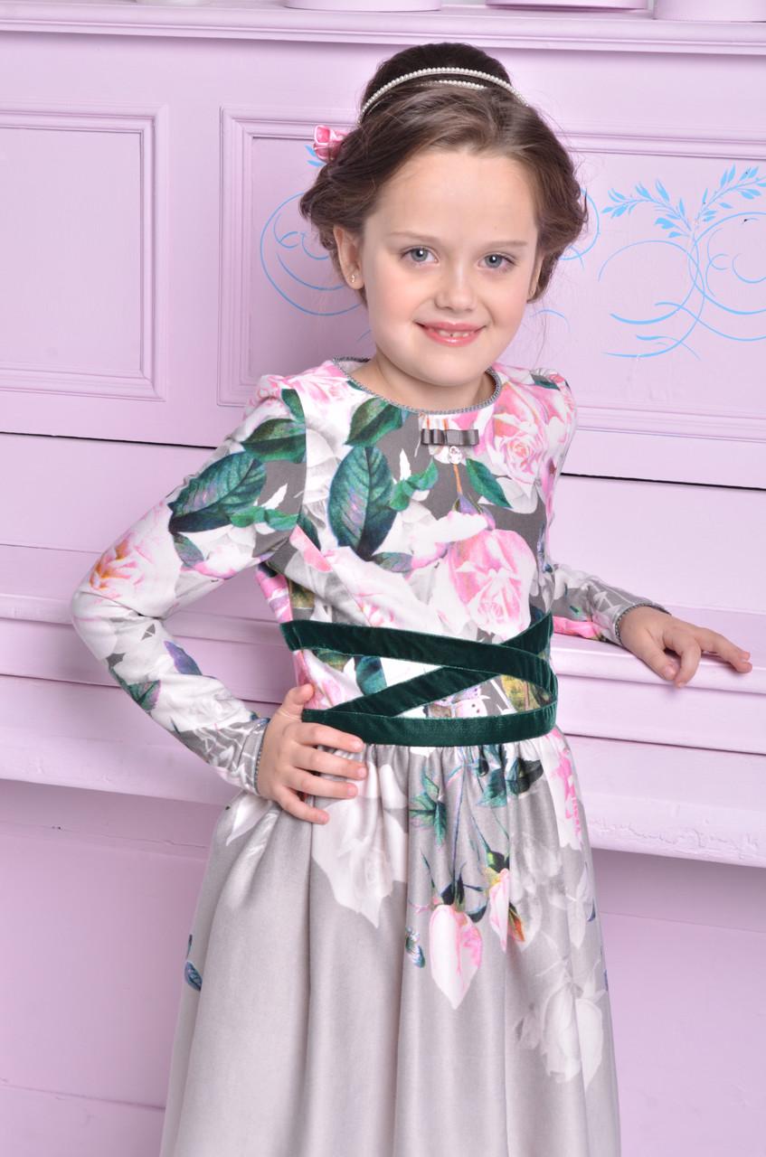 Нарядное платье для девочки с бархатной лентой