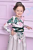 Нарядное платье для девочки с бархатной лентой, фото 1