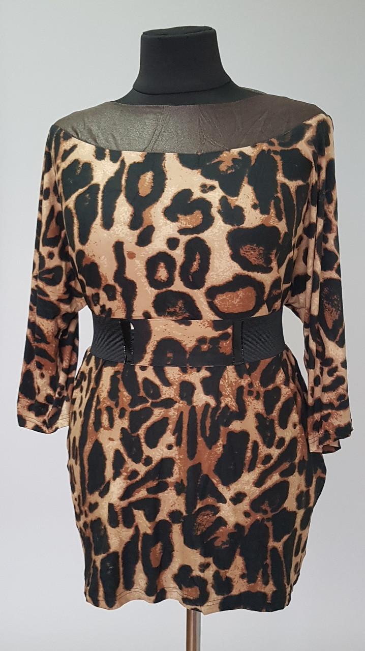 Женская летняя блуза свободного кроя с леопардовым принтом