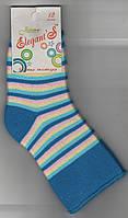 Детские носки х/б махровые Элегант, 12 размер, полоска голубая