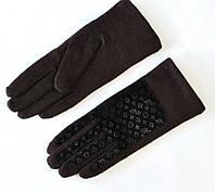 Кашемировые коричневые перчатки с логотипом Луи Витон