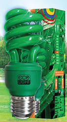 Лампа зеленая энергосберегающая декоративная HLSC T3 -  mini , 15 Вт