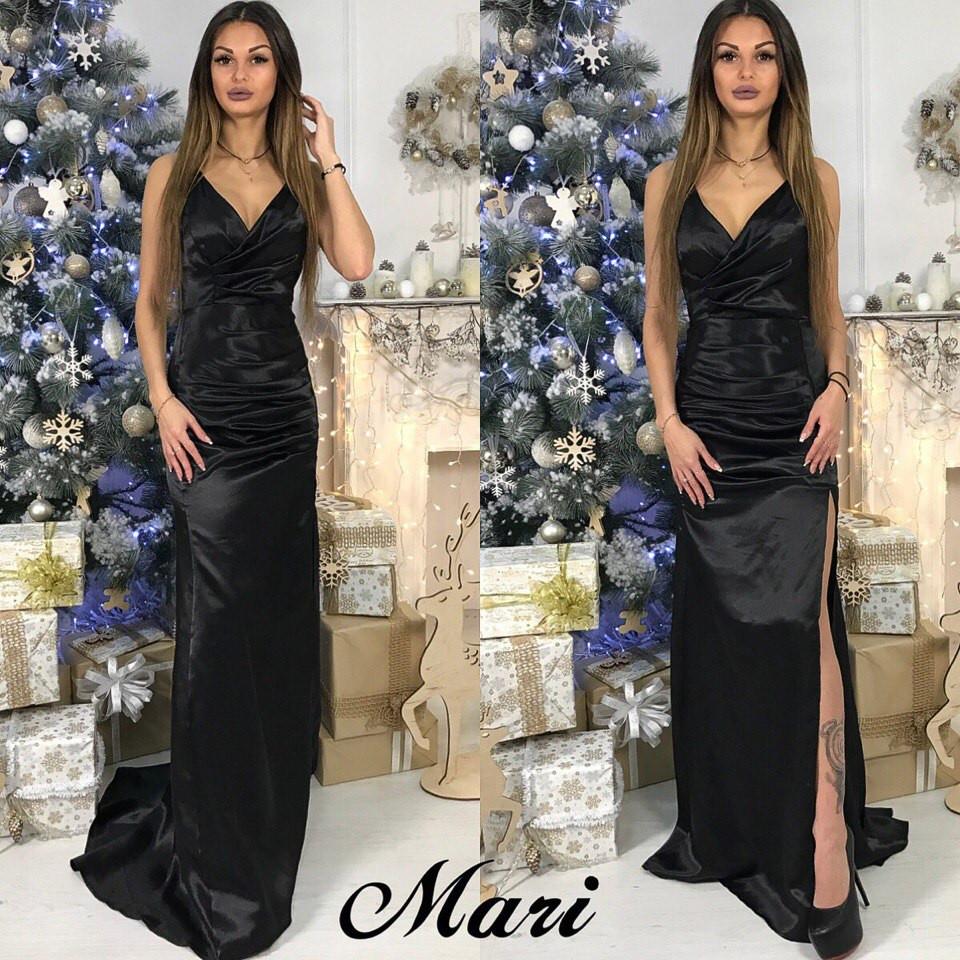 95fb2c4250e Длинное платье из атласа с разрезом на ноге - Интернет-магазин