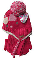 Шапка детская на меху с варежками и шарфом на девочку