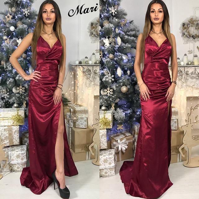 2d066d1d7842f59 Длинное платье из атласа с разрезом на ноге — купить недорого в ...
