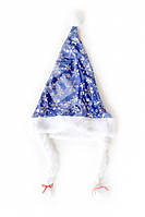 Шляпа колпак Снегурочки с косичками синий
