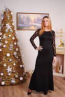 Женское длинное платье с гипюровой спиной  цвет черный р-42-50