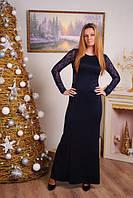 Женское длинное платье с гипюровой спиной  цвет синий р-42-50