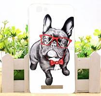 Силиконовый бампер чехол для ZTE Blade A610 с рисунком Собака в очках