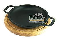 Сковорода чугунная порционная 20см (крышка-сковорода) на деревянной подставке 24см (дуб) БИОЛ 02032-4