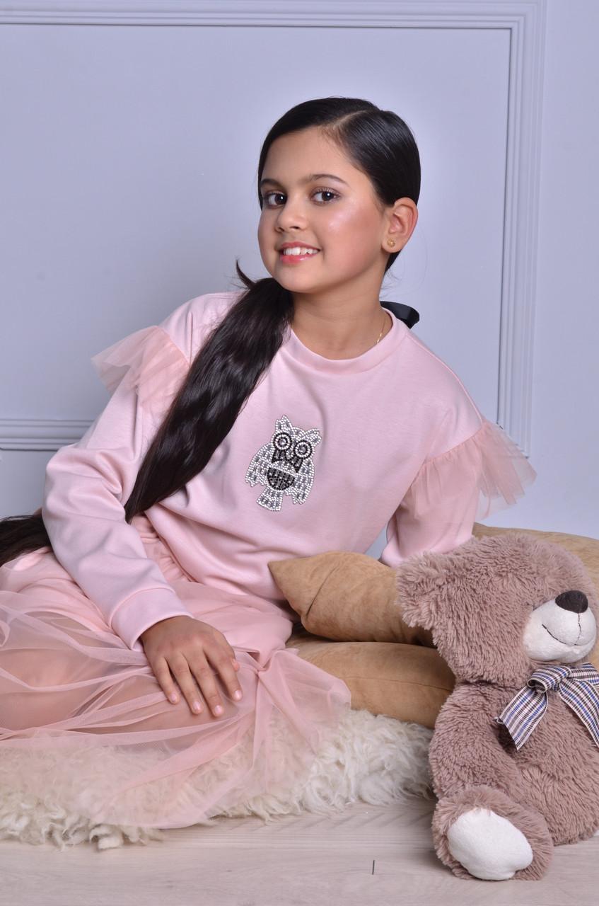 Нарядный розовый джемпер для девочки
