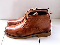 Мужские классические ботинки Zara коричневые топ реплика
