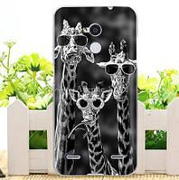 Силиконовый бампер чехол для ZTE Blade V7 Lite с рисунком Жирафы