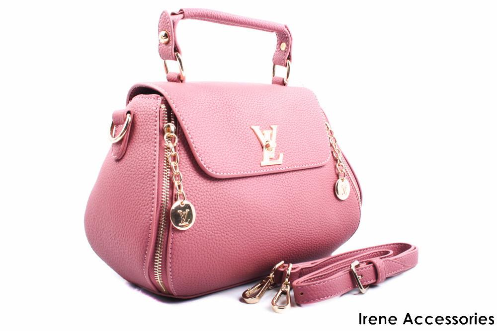 Элегантная женская сумка Louis Vuitton цвет темно-розовый