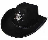 Шляпа Шерифа со звездой черная карнавальная