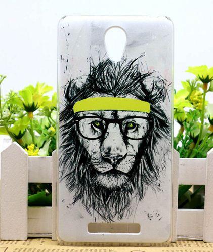 Силиконовый бампер чехол для ZTE Blade L110 A110 с рисунком Лев в очках