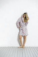 Женский теплый халатик серый в розовый горошек Vienetta Secret