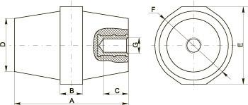 Ізолятор силовий з болтом ІЕК габаритні розміри