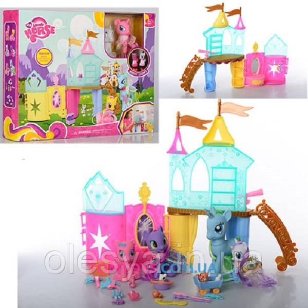 Замок My Little Pony, 4 пони, свет, аксессуары, в коробке 3225