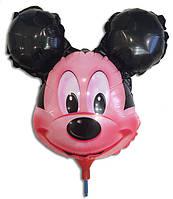 Шарик фольгированный на палочке Микки Маус голова 38х26см