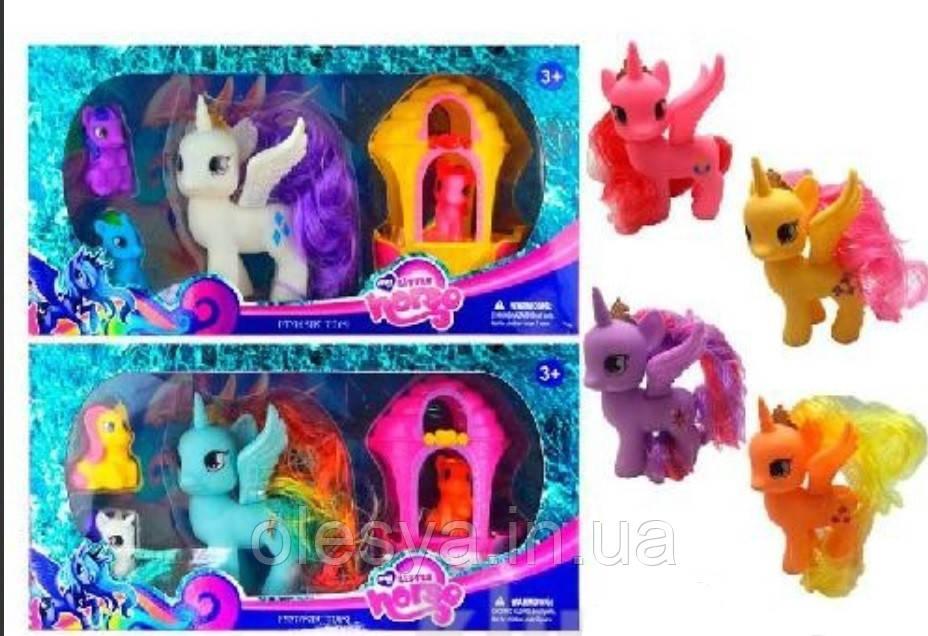 Лошадка My Little Pony, 4шт, карета,  в коробке 7011
