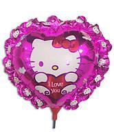 Воздушный шар Китти на палочке из фольгированной пленки
