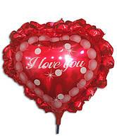 Шар на палочке из фольгированной пленки с надписью I Love You 23х17см