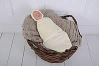 "Детская теплая евро пеленка-кокон на липучках ""Капитоне"" + шапочка для малыша (0-3 мес / 3-6 мес) ТМ MagBaby Молочный"